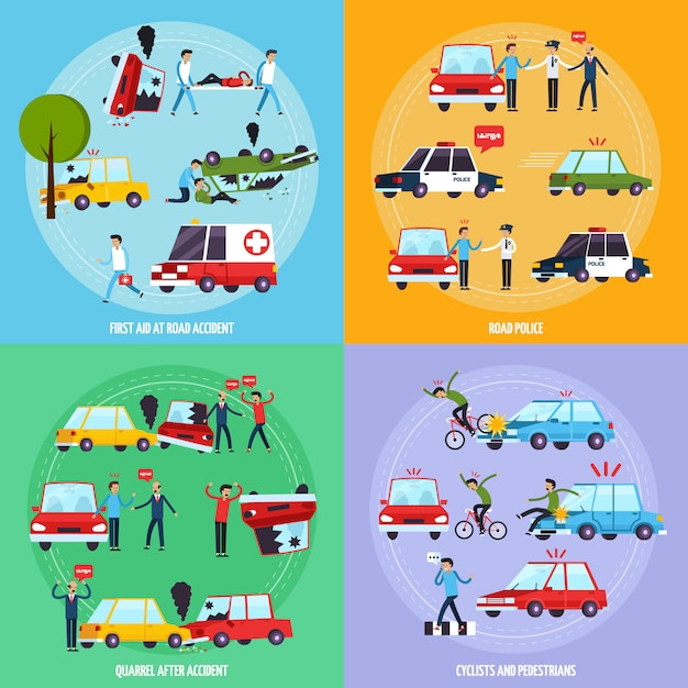 Conjunto de iconos de concepto de accidente de carretera vector gratuito