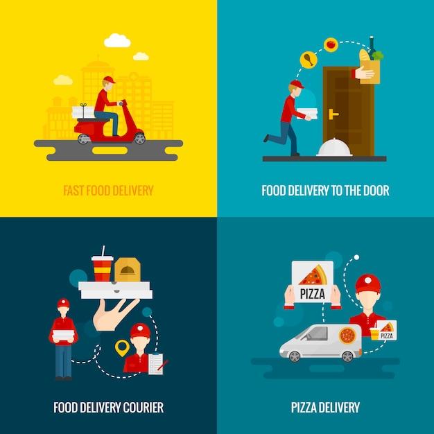 Conjunto de iconos de concepto de entrega de alimentos vector gratuito