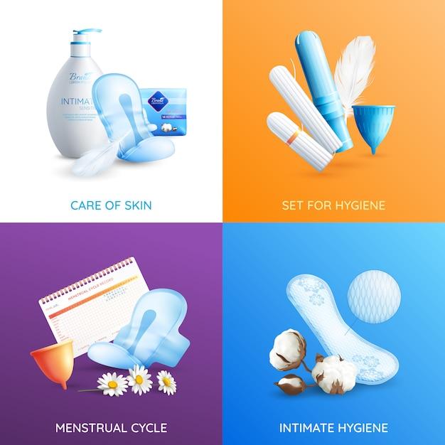 Conjunto de iconos de concepto de higiene femenina vector gratuito