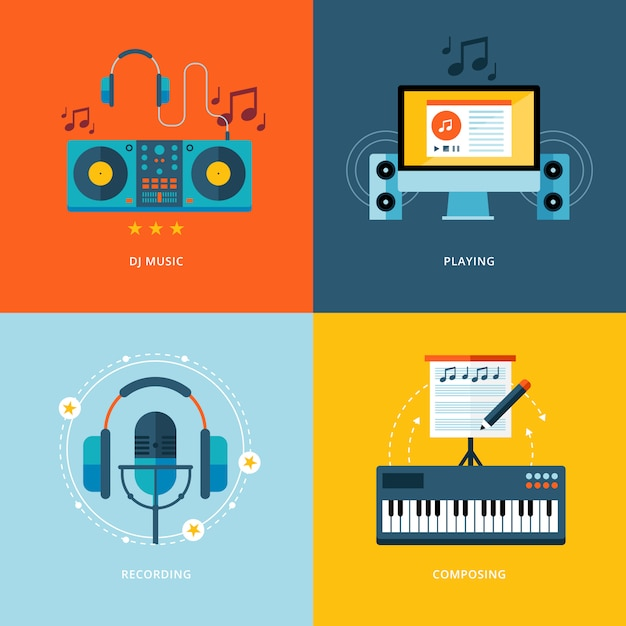 Conjunto de iconos de concepto para la industria de la música. iconos para música de dj, reproducción, grabación de música, composición de piano. Vector Premium