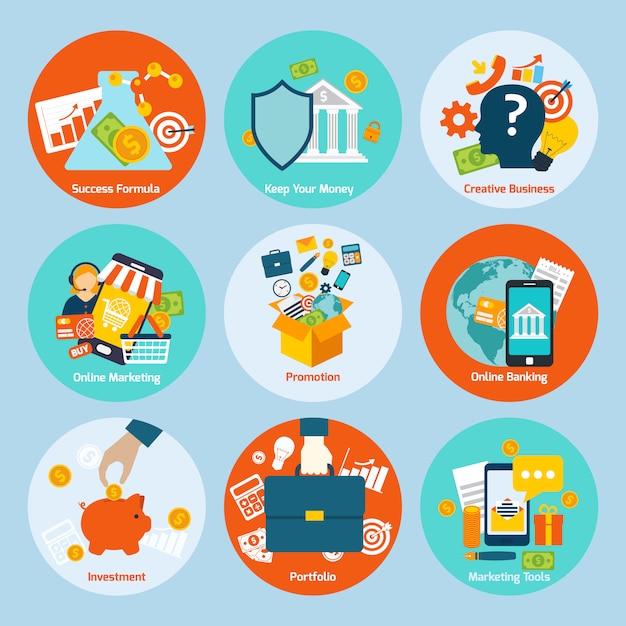 Conjunto de iconos de concepto de negocio vector gratuito