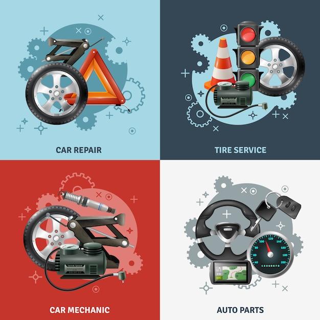Conjunto de iconos de concepto de servicio de coche vector gratuito