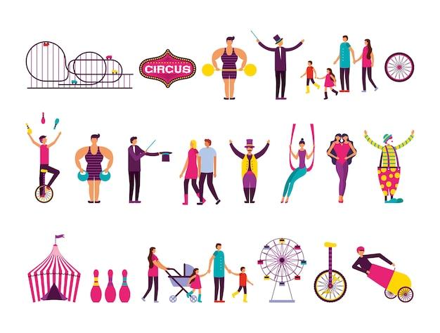 Conjunto de iconos de conjunto de personas y feria de circo vector gratuito