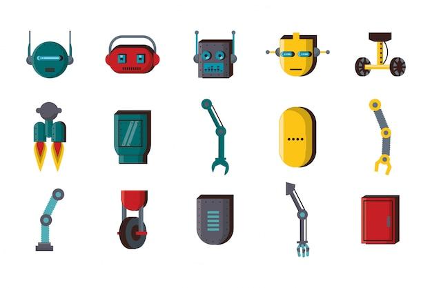 Conjunto de iconos de conjunto de tecnología de accesorios de robots Vector Premium