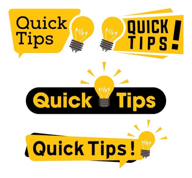 Conjunto de iconos de consejos rápidos Vector Premium