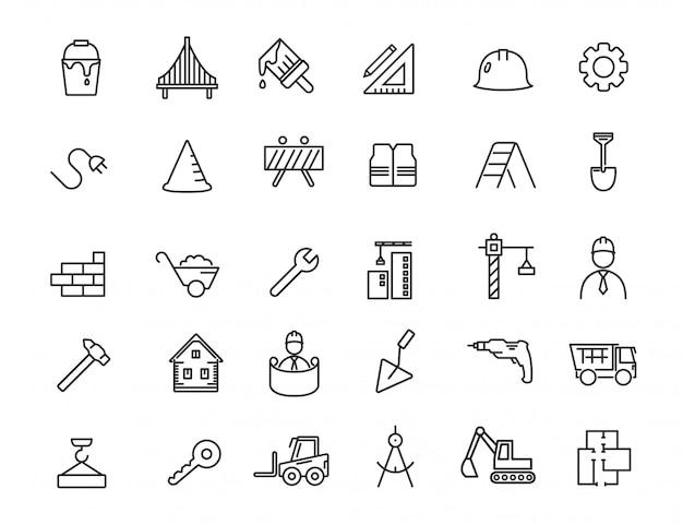 Conjunto de iconos de construcción lineal. iconos de ingeniería en diseño simple. Vector Premium