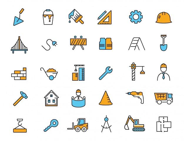 Conjunto de iconos de construcción lineal iconos de ingeniería Vector Premium