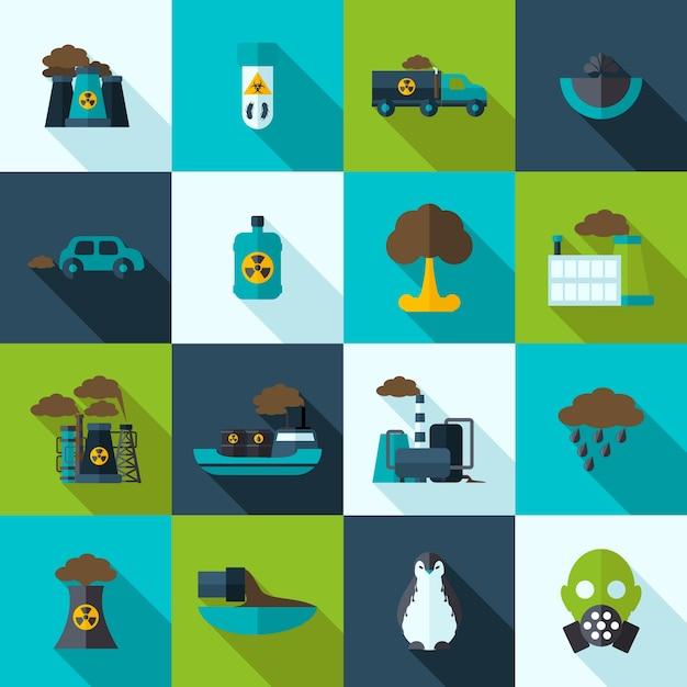 Conjunto de iconos de contaminación vector gratuito