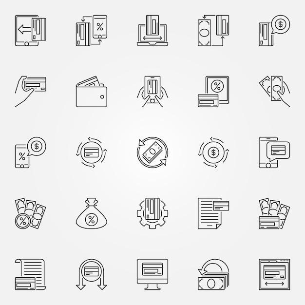 Conjunto de iconos de contorno de devolución de dinero. devolución de dinero y signos de dinero Vector Premium