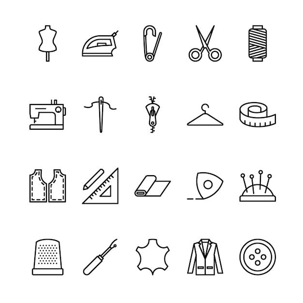 Conjunto de iconos de contorno de sastre Vector Premium