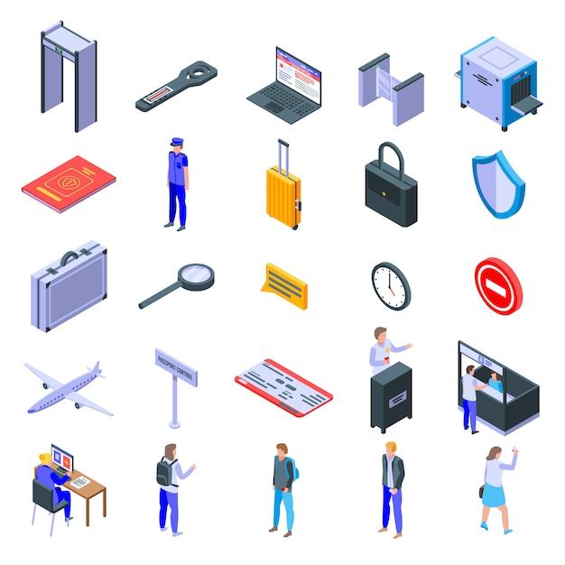Conjunto de iconos de control de pasaportes, estilo isométrico Vector Premium