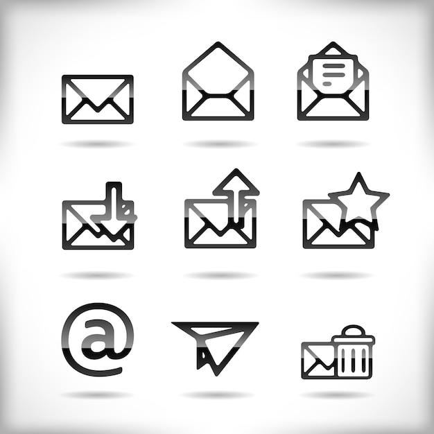 Conjunto de iconos de correo electrónico negro vector gratuito