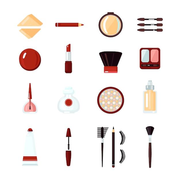 Conjunto de iconos de cosméticos vector gratuito