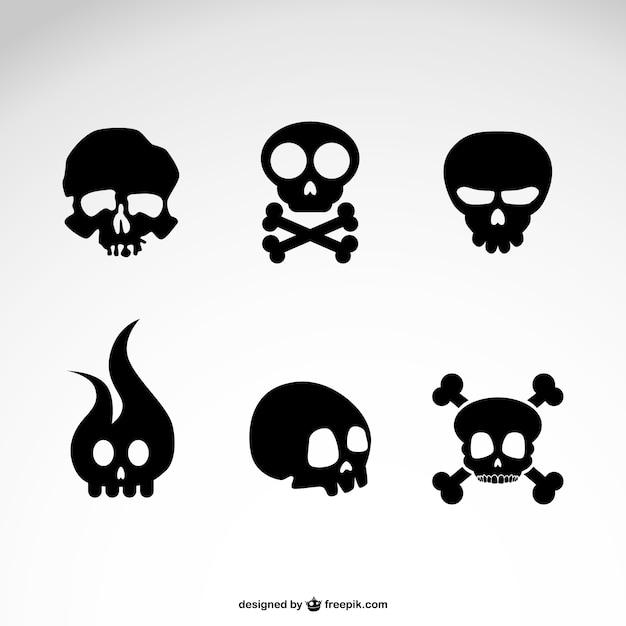 Conjunto de iconos de cráneos vector gratuito