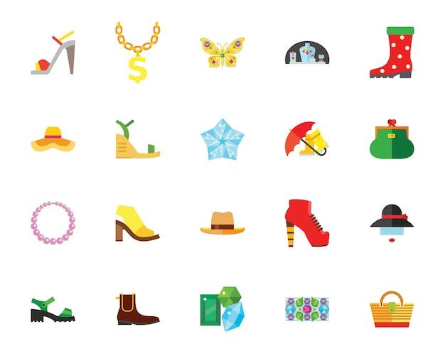 Conjunto de iconos creativos de zapatos y accesorios vector gratuito