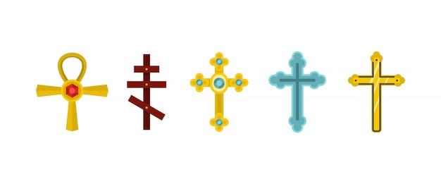 Conjunto de iconos de la cruz conjunto plano de colección de iconos de vector cruz aislado Vector Premium