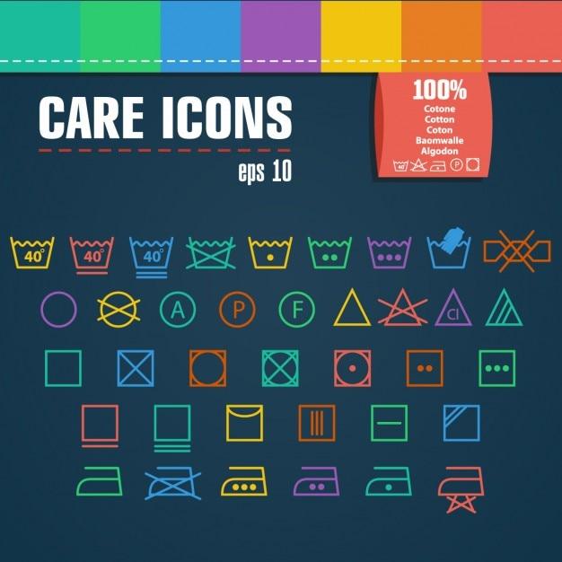 Conjunto de iconos de cuidado vector gratuito