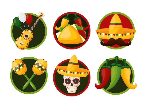 Conjunto de iconos de la cultura mexicana, cinco de mayo, ilustración de méxico vector gratuito