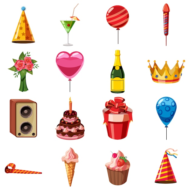 Conjunto de iconos de cumpleaños, estilo de dibujos animados Vector Premium