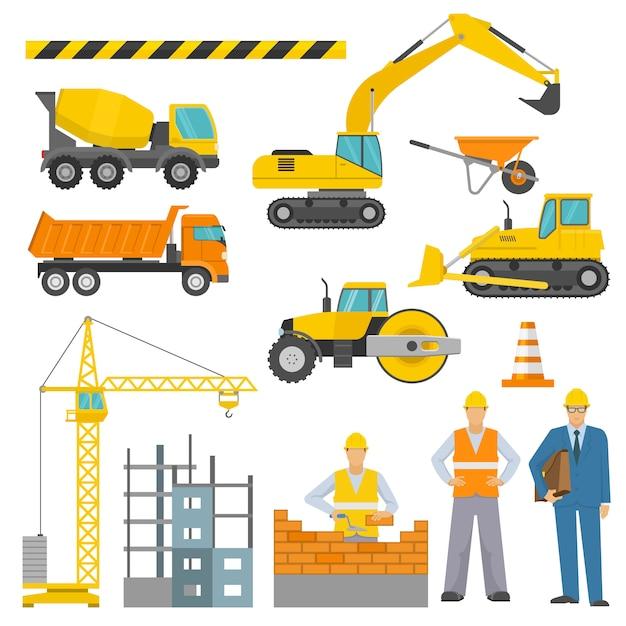 Conjunto de iconos decorativos de construcción vector gratuito