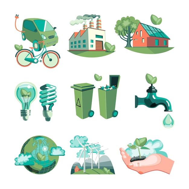 Conjunto de iconos decorativos ecología vector gratuito