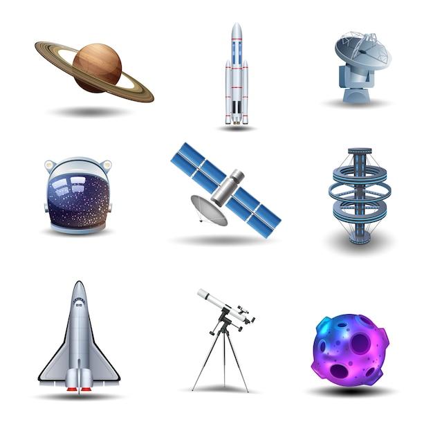 Conjunto de iconos decorativos de espacio vector gratuito