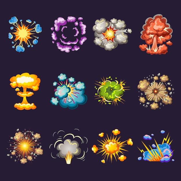 Conjunto de iconos decorativos explosiones cómicas vector gratuito
