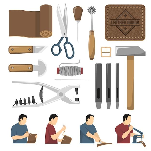 Conjunto de iconos decorativos de herramientas skinner vector gratuito