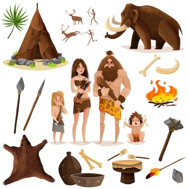Conjunto de iconos decorativos de hombres de las cavernas vector gratuito