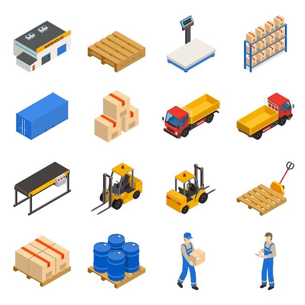 Conjunto de iconos decorativos isométricos de almacén vector gratuito