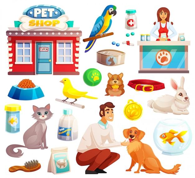 Conjunto de iconos decorativos de la tienda de mascotas vector gratuito