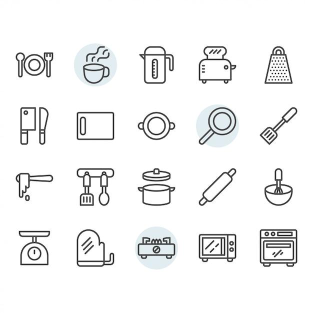 Conjunto de iconos de delgada línea de utensilios de cocina Vector Premium