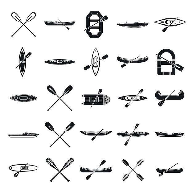 Conjunto de iconos de deporte de canotaje, estilo simple Vector Premium