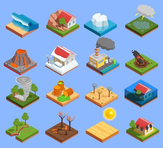 Conjunto de iconos de desastres naturales vector gratuito