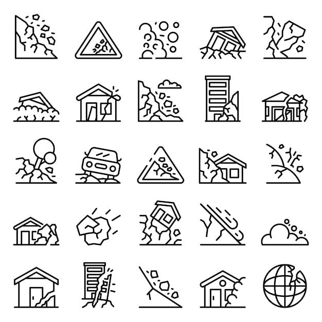 Conjunto de iconos de deslizamientos de tierra, estilo de contorno Vector Premium