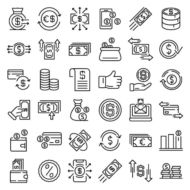 Conjunto de iconos de devolución de efectivo, estilo de contorno Vector Premium