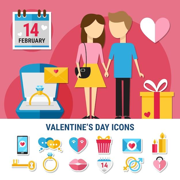 Conjunto de iconos del día de san valentín vector gratuito