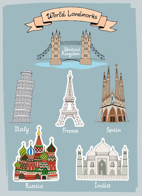 Conjunto de iconos dibujados a mano de monumentos del mundo vector gratuito