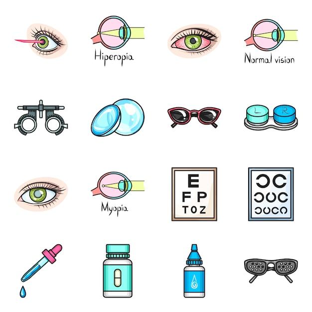 Conjunto de iconos de dibujos animados de corrección de visión. Vector Premium