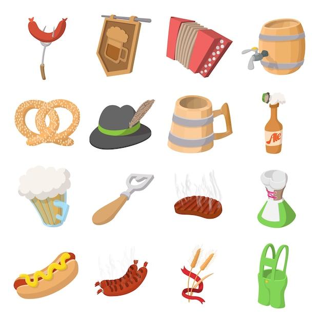 Conjunto de iconos de dibujos animados de fiesta oktoberfest aislado Vector Premium
