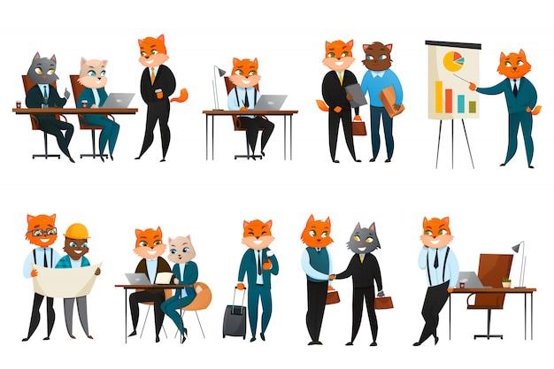 Conjunto de iconos de dibujos animados de gato de negocios vector gratuito