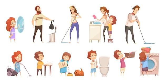 Conjunto de iconos de dibujos animados de limpieza familiar vector gratuito