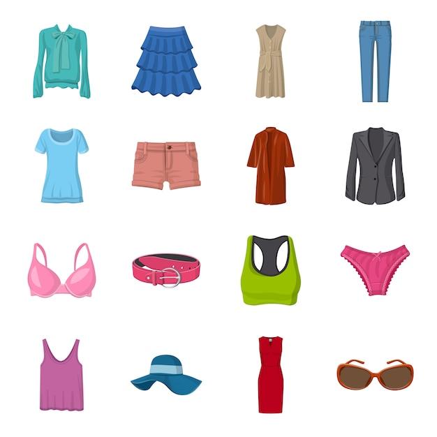Conjunto de iconos de dibujos animados de moda, ropa de moda femenina. Vector Premium