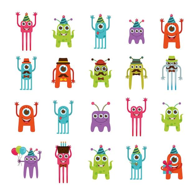 Conjunto de iconos de dibujos animados de monstruo vector gratuito