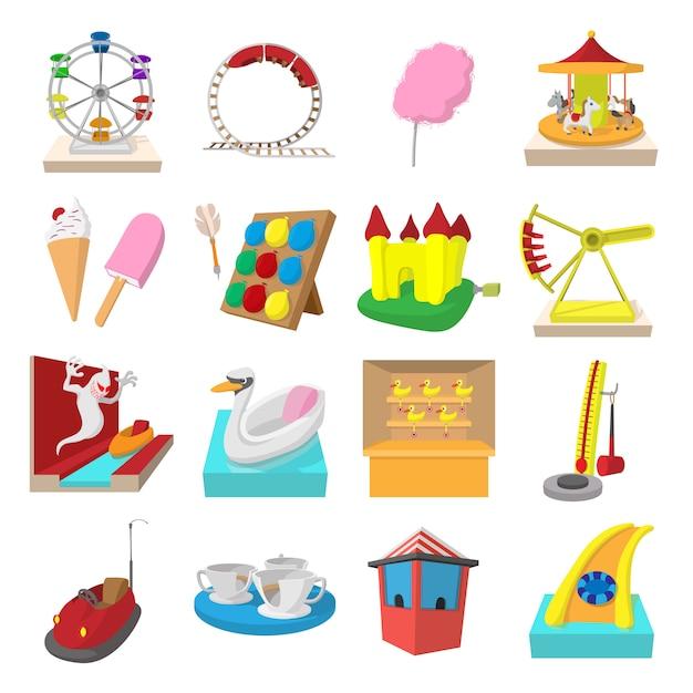 Conjunto de iconos de dibujos animados del parque de atracciones aislado Vector Premium