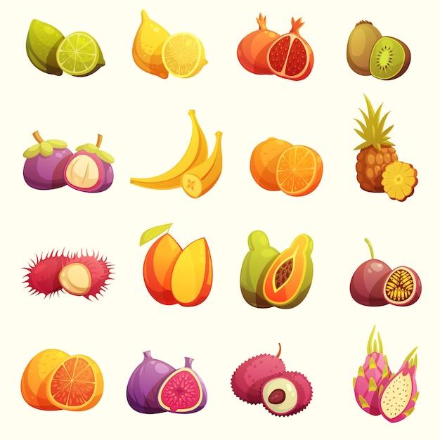Conjunto de iconos de dibujos animados retro de frutas tropicales vector gratuito