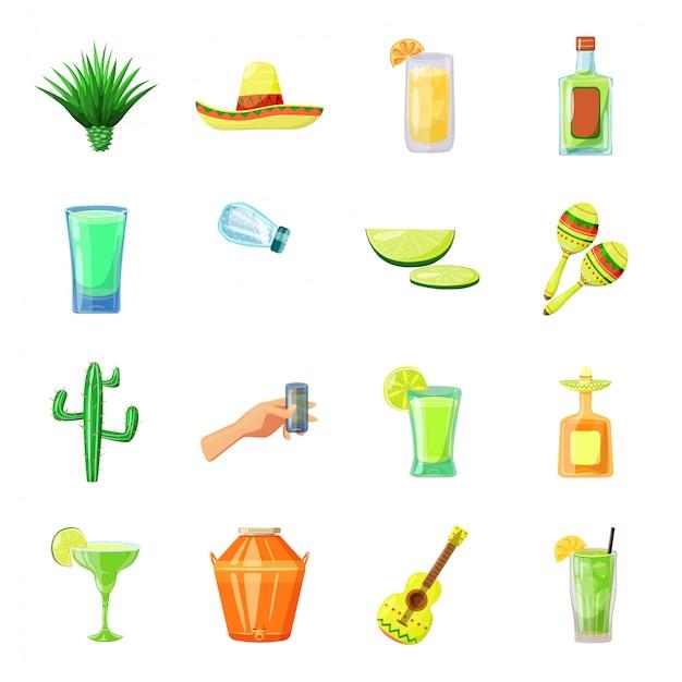 Conjunto de iconos de dibujos animados de tequila Vector Premium