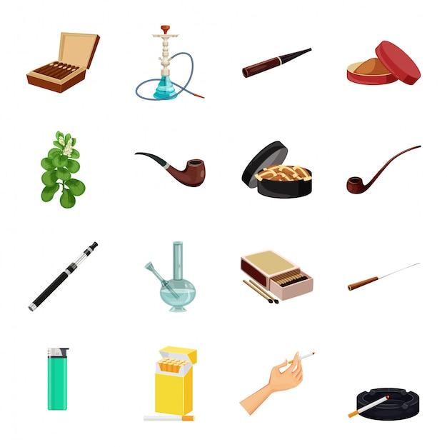 Conjunto de iconos de dibujos animados de vector de tabaco Vector Premium