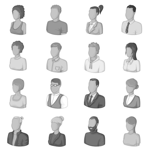 Conjunto de iconos de diferentes personas, estilo monocromo Vector Premium