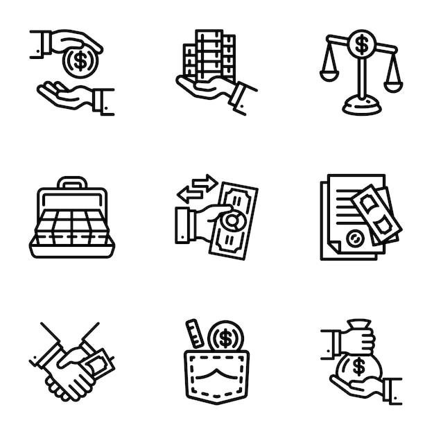Conjunto de iconos de dinero soborno. esquema conjunto de 9 iconos de dinero soborno Vector Premium
